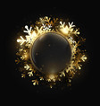 merry christmas shining gold snowflakes vector image vector image
