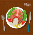 poster delicious food in kitchen table background vector image