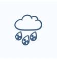 Radioactive cloud and rain sketch icon