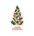 realistic christmas tree from holly xmas vector image vector image