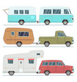 rv cars travel mobile houses family camping vector image vector image