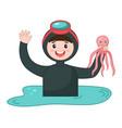 scuba diver young man over water cartoon vector image