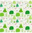 seamless pattern with rabbits bear and flowers vector image vector image