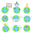 set of cute earth icons in kawaii style vector image