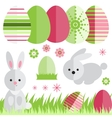 Set with easter eggs and rabbit in flat style vector image vector image