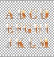 silver and gold impossible font alphabet letter vector image vector image