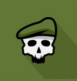 skull in military beret design template vector image