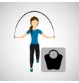 sport woman jumping rope and weight scale vector image vector image