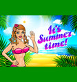 summer time lettering and woman on of the sea vector image