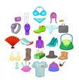 vogue icons set cartoon style vector image vector image