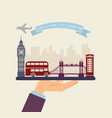 welcome to london attractions of london on a tray vector image vector image