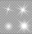 white glowing light burst set vector image