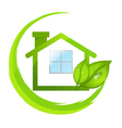 Green logo of eco house with leafs vector image