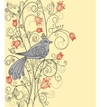 Abstract floral background with beautiful bird vector image vector image