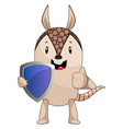 armadillo with shield on white background vector image vector image