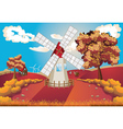 Autumn Landscape with Windmill vector image vector image