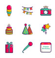 birthday equipment icons set flat style vector image