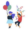 birthday party girl with balloon and boy throwing vector image