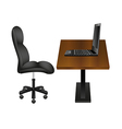 Black Chair and Laptop on Wooden Desk vector image vector image