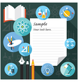 Blank Paper Frame with Education Icons vector image