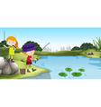 Boy and girl fishing at the river vector image vector image