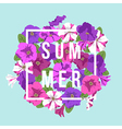 bright floral composition with inscription vector image