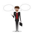 business man in suit with empty speech bubbles vector image vector image