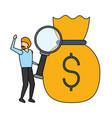 businessman magnifyig glass money bag vector image vector image
