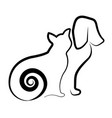 cat and dog silhouette icon vector image vector image