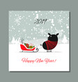 christmas card santa pig in forest symbol of vector image vector image