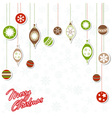 Christmas greeting card with xmas toys vector image