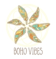 composition boho ornamental feathers in circle vector image vector image
