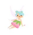 cute little winged fairy flying with magic wand vector image vector image
