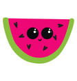 cute sliced watermellon on white background vector image vector image