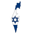 detailed map of the israel with national flag vector image vector image
