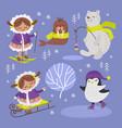 eskimo walrus winter cartoon animal vector image