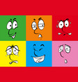 faces on six different backgrounds vector image vector image