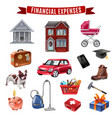 family expenses flat icons collection vector image vector image