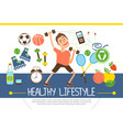 flat healthy lifestyle concept vector image vector image