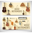 Flat music instruments banners concept desig
