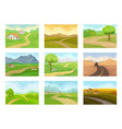 flat set of natural landscapes with road vector image vector image