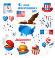 fourth july independence day symbols set vector image vector image