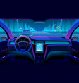 future autonomous vehicle driverless car interior vector image vector image