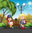 Girls hanging out at the park vector image vector image