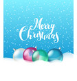 glass christmas baubles with a snow greeting card vector image vector image