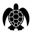 graphic black sea turtle on white background vector image