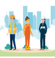 group of workers in the city vector image vector image