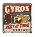gyros vintage rusty metal sign vector image vector image
