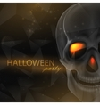 halloween of an evil skull on geometric polygonal vector image