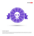 halloween skull icon - purple ribbon banner vector image